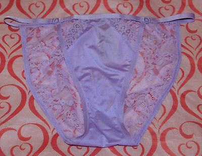 NEW Victoria's Secret Very Sexy String Bikini Panty Satin Lavender Lace Large L