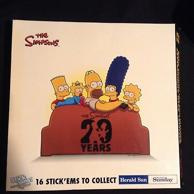 Simpson's 20th Anniversary Figurine Stick ons Collector Album Gold Bart