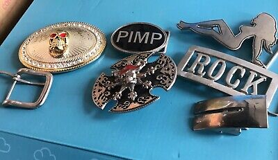 Bikie Belt Buckles - Seven assorted - Good Condition - Sell for Charity