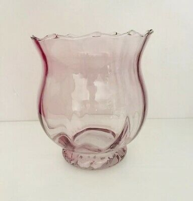 Pink Clear Glass Vase - Vintage with Ruffled Edge - Excellent Used Condition