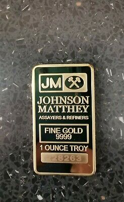 House clearance items. Johnson Matthey gold bar 31.1 grams. With serial number.