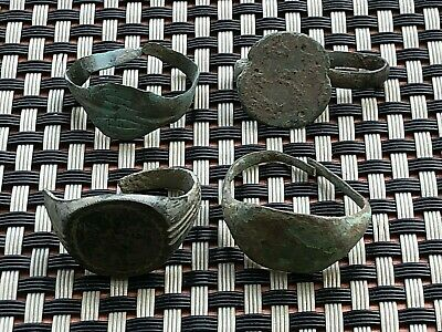 Lot Of 4 Ancient Late Roma And Byzantine Bronze Rings Circa 400-800 Ad.