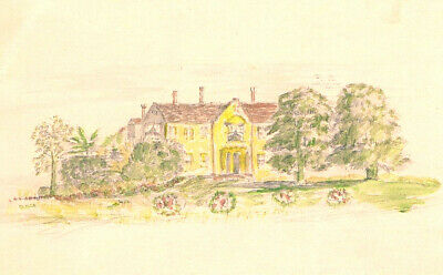 AN IMPORTANT COUNTRY HOUSE EARLY 20th C ORIGINAL ANTIQUE  WATERCOLOR