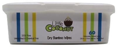 Dry Bamboo Wipes Tub -60 Sheets -100% Pure -Baby/Multi-purpose ~Little Coconut
