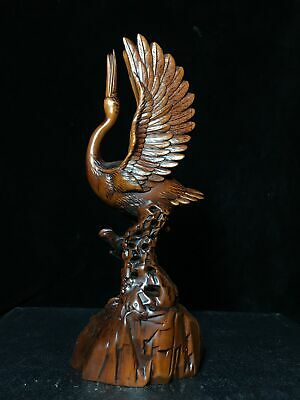 Collectable China Old Boxwood Hand-Carved Elegant Crane Delicate Decor Statue