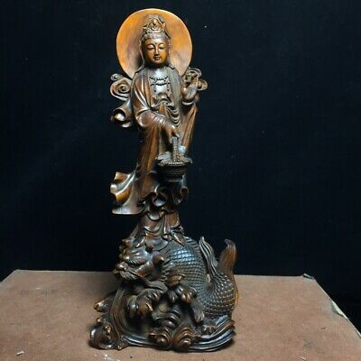 Collect China Old Boxwood Hand-Carved Fallen Dragon Kwan-Yin Bring Luck Statue