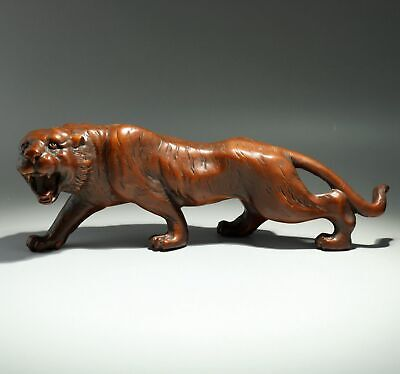 Collectable China Antique Boxwood Hand-Carved Roar Tiger Infrequent Decor Statue