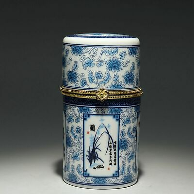 Collect Old Blue And White Porcelain Hand Paint Bloomy Flower Fine Toothpick Box