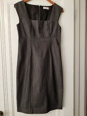 Calvin Klein Womens Size 6 Gray Dress Cap Sleeves Zip Scoop Neck Fitted