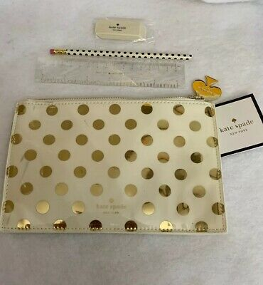 Authentic Kate Spade New York Gold Dots Pencil Pouch Set Gold Polka dot
