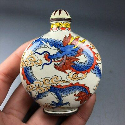 Collection Handwork Old Cloisonne Handpainted Myth Dragon & Phenix Snuff Bottle