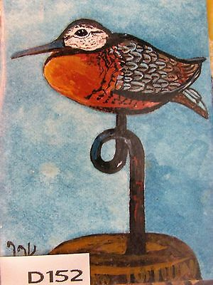 """D152   Aceo   Original Acrylic Painting By Ljh        """"Carved Shorebird"""""""