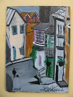 "A733   Original Acrylic Art Aceo Painting By Ljh       ""Street Ireland''"