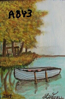 """A843  """"New"""" Original Acrylic Aceo Painting By Ljh     """"Boat Reflection"""""""