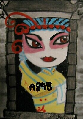 "A848  ""New""       Original Acrylic  Aceo Painting By Ljh         ""Art Door"""