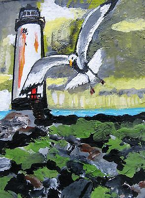 "A495 Original Acrylic Art Aceo Painting By Ljh ""Lighthouse & Seagull"""