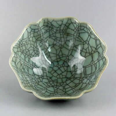 Collectable China Antique Porcelain Glaze Hand-Carved Exquisite Noble Lotus Bowl