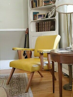 Vintage mid century YELLOW LOUNGE CHAIR solid wood DANISH STYLE POST MODERN