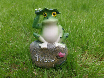 5 Inch Frogs Sitting on Stone Sculptures Outdoor Decor Fairy Garden Ornaments EW