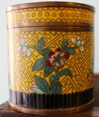 Lovely Old Chinese Cloisonné Box Perfect Rose Blossoms