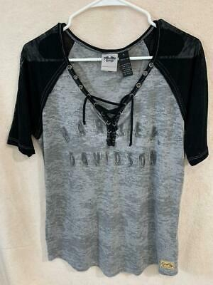 Harley Davidson Womens Black/Gray Short Sleeve Lace Front Top Large