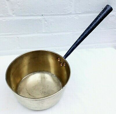 Vintage Brass Saucepan with Cast Iron Handle and Copper Bolts - Medium