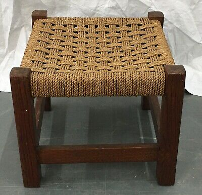 Vintage mid- century Wooden country stool with woven coir seat