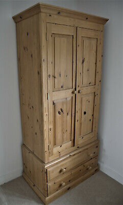 Solid Pine Double Wardrobe (good condition)