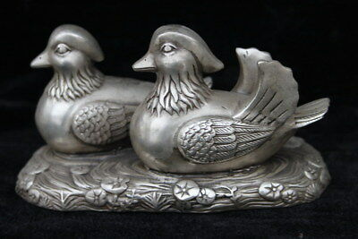 Collectable Ancient Miao Silver Carved Mandarin Duck Play Water Exquisite Statue