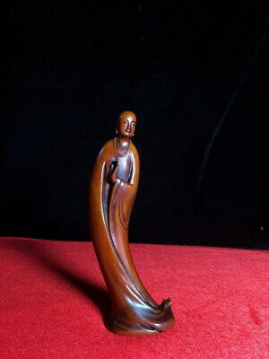 Exquisite Gorgeous Decor China Boxwood Carved Buddhist Monk Auspicious Statue