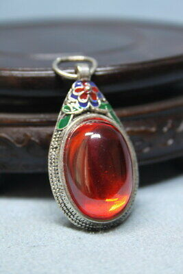 Collectable Handwork Rare Miao Silver Inlay Ruby Auspicious Beautiful Pendant
