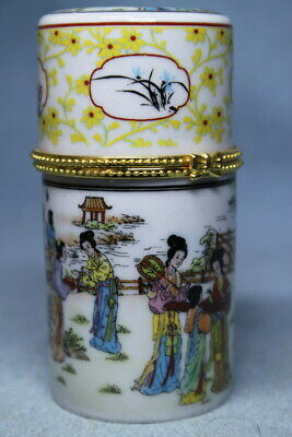 Collectable Porcelain Painting Beauty People Precious Auspicious Toothpick Box