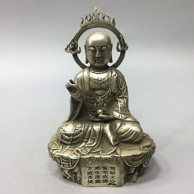 Collectable Miao Silver Carved Baldheaded Bodhisattva Auspicious Noble Statue
