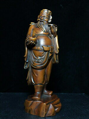 Collectable Rare Boxwood Carved God Of Wealth Elegant Ancient Auspicious Statue