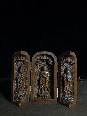 Collectable Decor China Auspicious Boxwood Carving Three Buddha Exquisite Statue