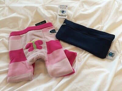 Cloth Diaper Cover Wool Longie Soaker Girls Size M 14-26lbs Pink + Wetbag