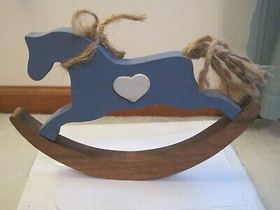 Painted Wooden Blue Rocking Horse Heart Handmade Wall Hanging Country Decor