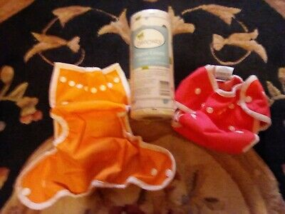 Thirsties Set of 2 Sz 1 Cloth Diaper Covers Orange and Pink Osocozy Liners