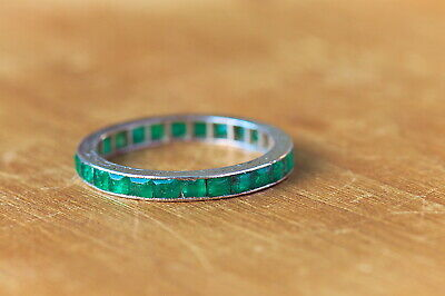 Antique English Platinum Genuine Art Deco Grass Green Emerald Eternity Ring 1920