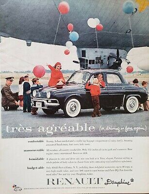 Lot of 3 Vintage 1960 Renault Dauphine Ads Tres Agreable