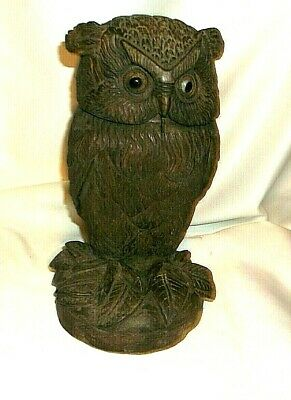 Antique Folk Art Owl Wood Humidor  Hand Carved Great Detail