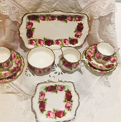 Very Rare Old English Rose Tea Set for Two Made in England by Royal Albert