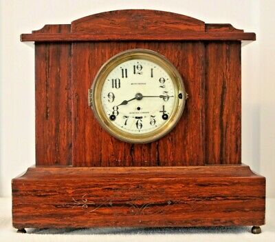 Antique Key Wind Seth Thomas Sonora Chime Mahogany Mantle Shelf Clock