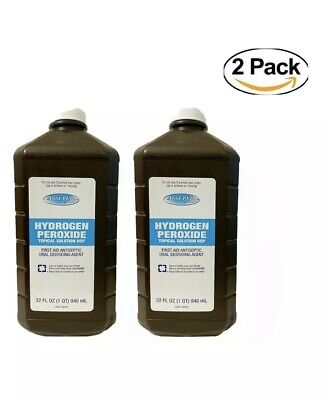 2 X Hydrogen Peroxide Topical Solution USP First Aid Antiseptic 32 Fl Oz EACH