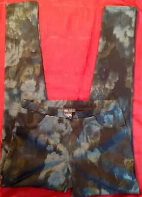 Pure Amici Sz XS Women's Floral Pull On Stretch Casual Pants Made In USA