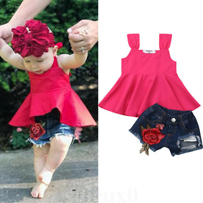 Kids Summer Pants Girls Set Cotton Plain Color T-Shirt Vest + Rose Denim Shorts