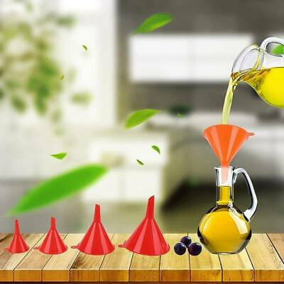 4PC Funnel Set Plastic Pouring Funnels Kitchen Petrol Fuel