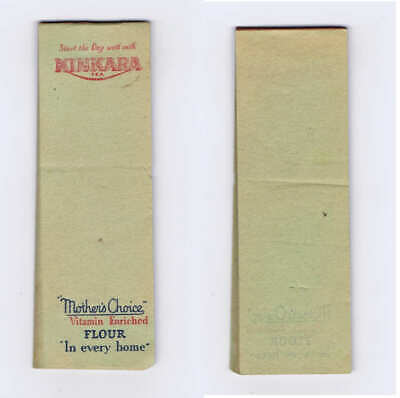 Original c.1930's Kinkara Tea & Mothers Choice Flour Promo Shopping List Pad