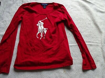POLO Ralph Lauren Girls Red L/S T Shirt With Silver Polo Player Detai 7 Years