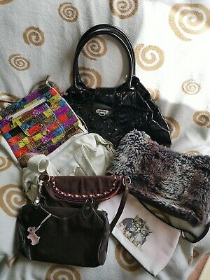 Job Lot Of Vintage Modern Used Hand Bags FCUK Radley Kitty Black white brown bag